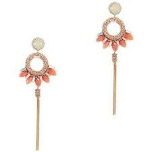 Deepa Gurnani - Peach Stone Tassle Earrings
